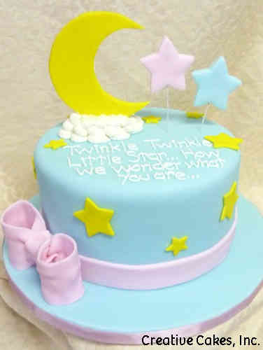 Reveal 10 Fondant Moon and Stars Gender Reveal Cake