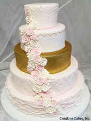 Floral 05 Gold and Blush Ruffle Cake
