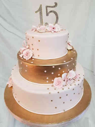 Classic 06 Lovely Pink and Gold Quincenera Birthday Cake