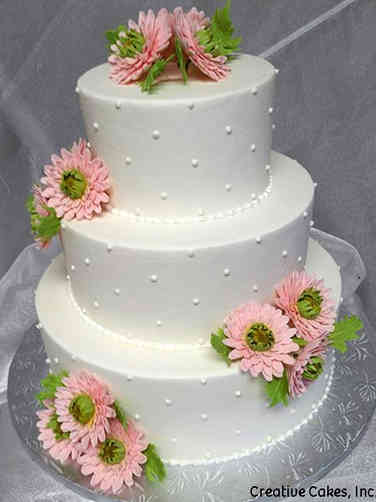 Floral 04 Gerbera Daisies Wedding Cake