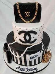 Fashion 15 Black, White, and Gold Chanel Birthday Cake