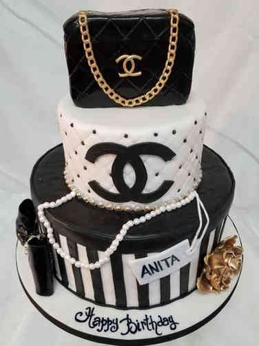 Fashion 15 Black, White, and Gold Chanel Birthday Cake