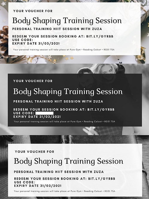 Body Shaping Personal Training Gift Voucher for 3 sessions!