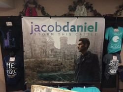 Merch table for the album release