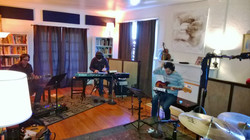Musicians laying down the tracks