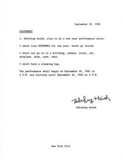 One Year Performance 1981-1982 (Outdoor Piece, Statement)