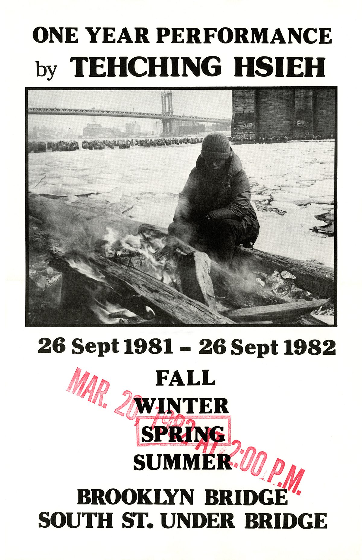 One Year Performance 1981-1982 (Outdoor Piece, Spring poster)