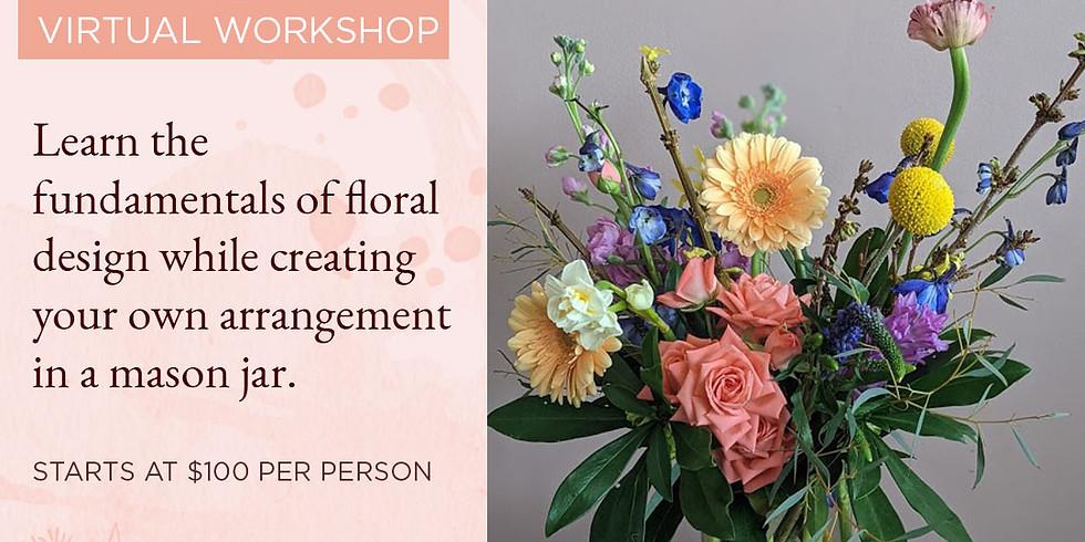 Mason Jar Vase Floral Kit & Virtual Workshop