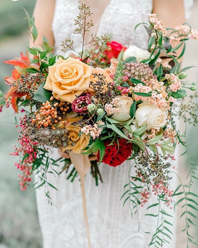 Lush Wild and Whimsical Bridal Bouquet