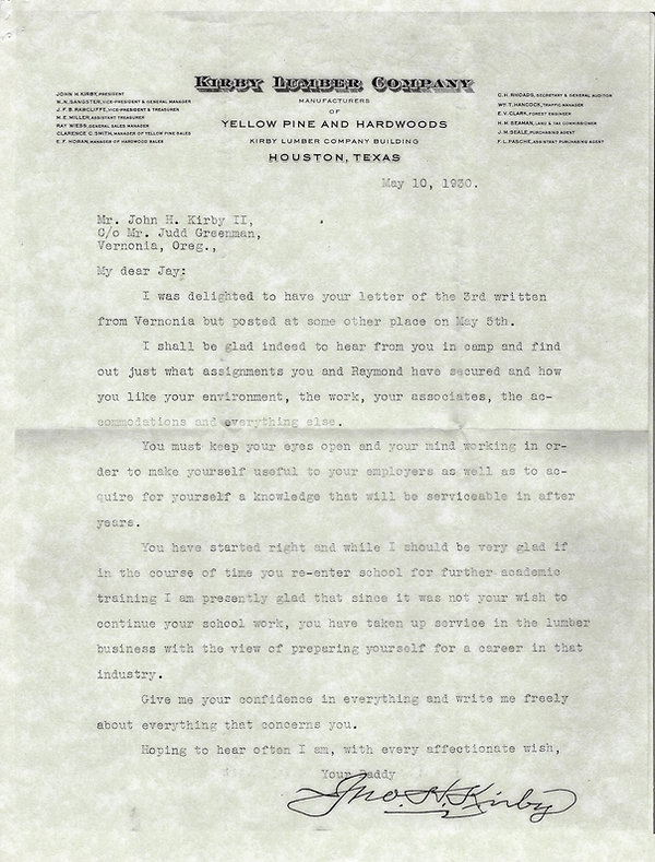 John H Kirby letter to son Jay May 10 19