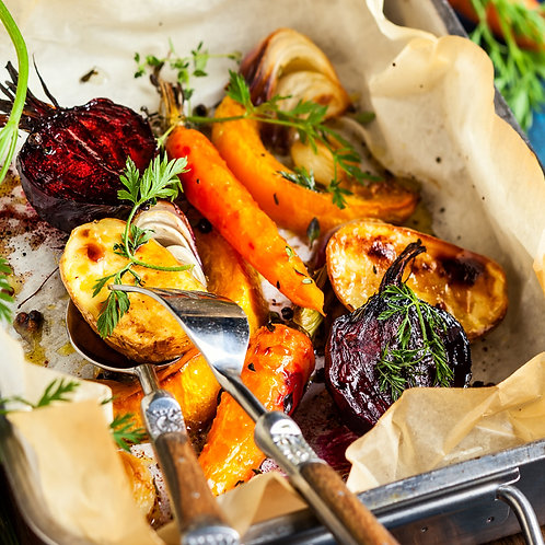 A medley of roasted root vegetables
