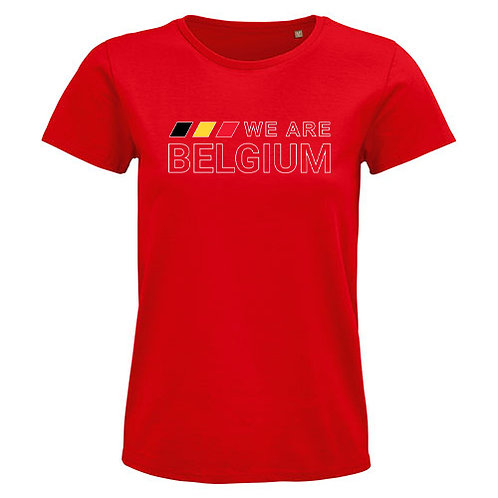 Dames T-shirt-we.are.belgium-rood