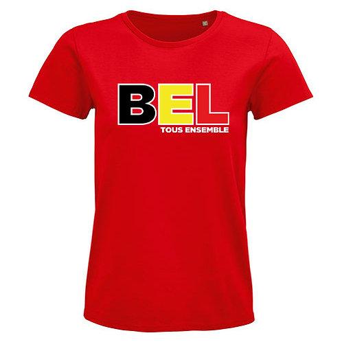 Dames T-shirt-BEL(GIUM)-rood