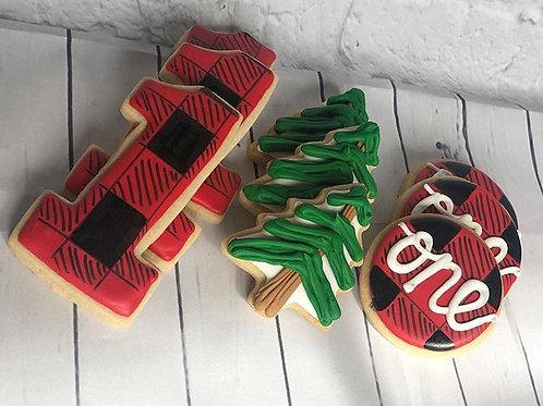 Lumberjack First Birthday Cookies