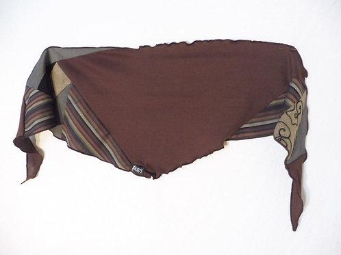 Foulard rayé brun et beige