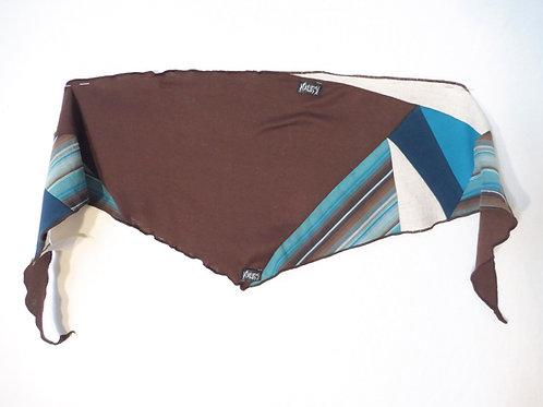Foulard rayé turquoise et brun