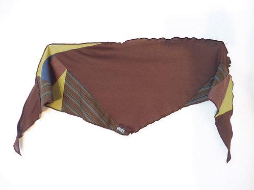 Foulard brun et bleu rayé