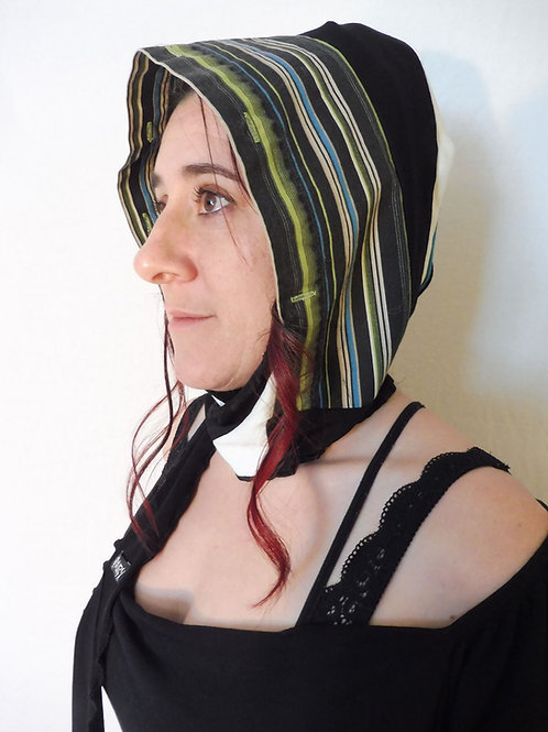 Capuchon foulard noir et lime rayé