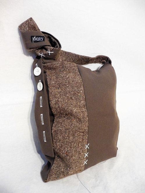 Sacoche tweed brun