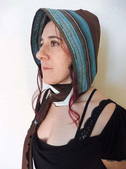 Capuchon foulard turquoise et brun