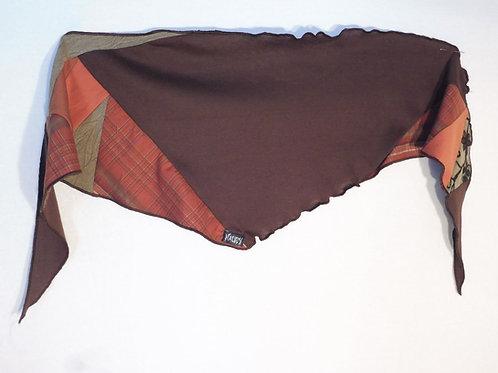 Foulard carrelé orange et brun