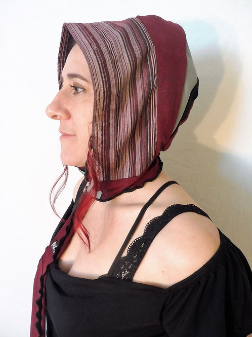 Capuchon foulard vieux rose