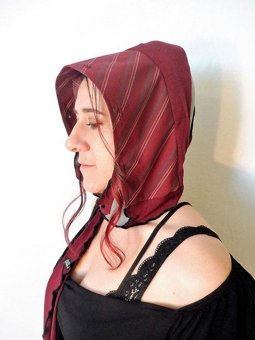 Capuchon foulard rayé bourgogne