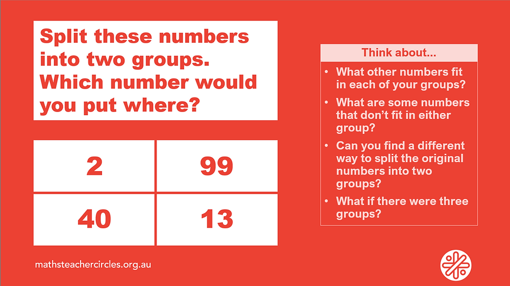 Split these numbers into two groups. Which numbr would you put where? Numbers are: 2, 99, 40, 13. Think about: What other numbers fit in each of your groups? What are some numbers that don't fit in either group? Can you find a different way to split the original numbers into two groups? What if there were three groups? Image source: mathsteachercircles.org.au