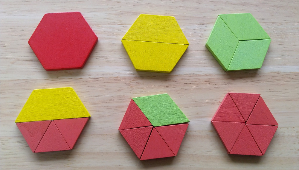 Six hexagons created in different ways using between 1 pattern block piece and 6 pattern block pieces.