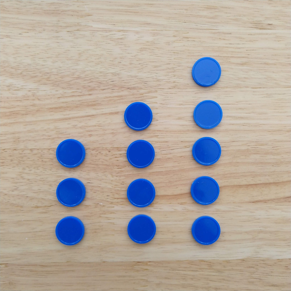 Three columns of blue counters: 1st column has 3 counters, 2nd column has 4 counters and 3rd column has 5 counters