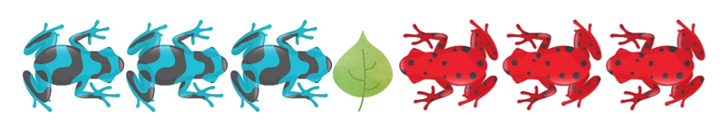 Three blue frogs facing three red frogs, with a lily pad in between.