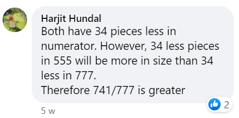 """Harjit Hundal stated """"Both have 34 pieces less in numerator. However, 34 less pieces in 555 will be more in size than 34 less in 777. Therefore 741 over 777 is greater"""
