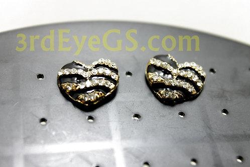 Zebra Heart Studs