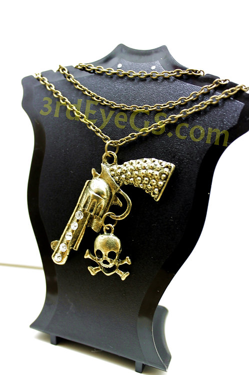 Pistol and Skull Necklace