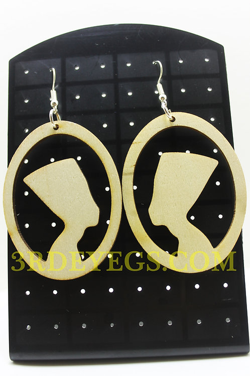 Wood Frame Nefertiti Earrings