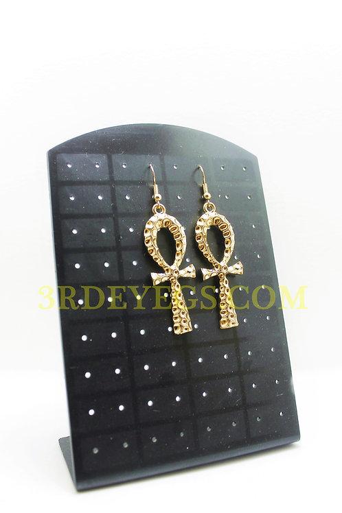Gold Ankh Earrings