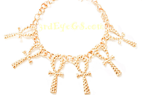 Gold Linked Ankh Necklace