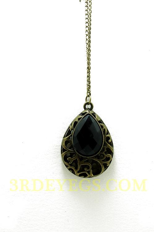 Black Teardrop Necklace