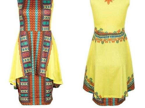 Yellow African Print Dress
