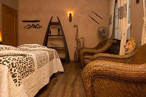 voorbeeld van één van de themakamers van Rendez-vous hotel De Inslag namelijk de Afrikaanse kamer