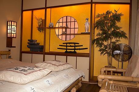 Voorbeeld van één van de kamers van rendez-vous hotel De Inslag namelijk de Japanse kamerr