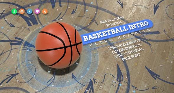 VIDEOHIVE BASKETBALL 4K OPENER/ ACTION SPORT PROMO/ ACTIVE GAME/ BASKET BALL LOGO/ NBA INTRO/ BROADC