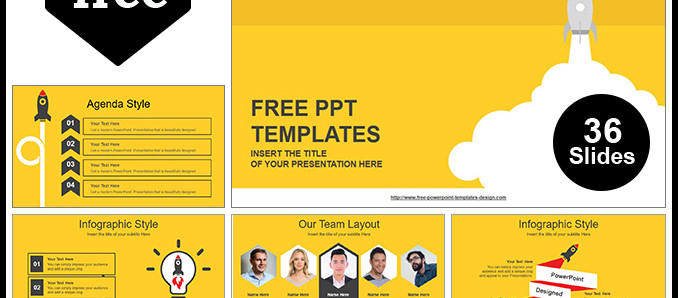 Free Download Rocket Launched PowerPoint Template