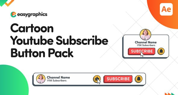 Cartoon Youtube Subscribe Button Pack 32065779 Videohive – Download After Effects Template
