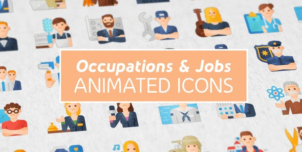 Occupations & Jobs Modern Flat Animated Icons 25388705 Videohive – Free Download After Effects
