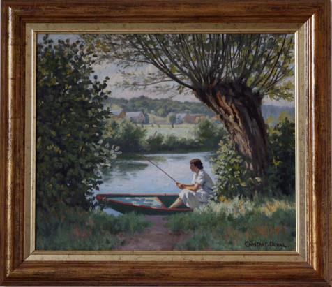 Femme pêchant dans une barque