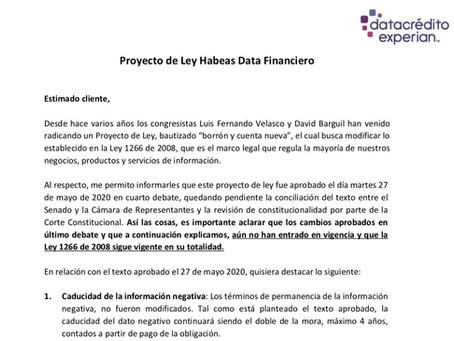 Proyecto de Ley Habeas Data Financiero