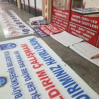 belediye afişi, belediye yol çalışması branda