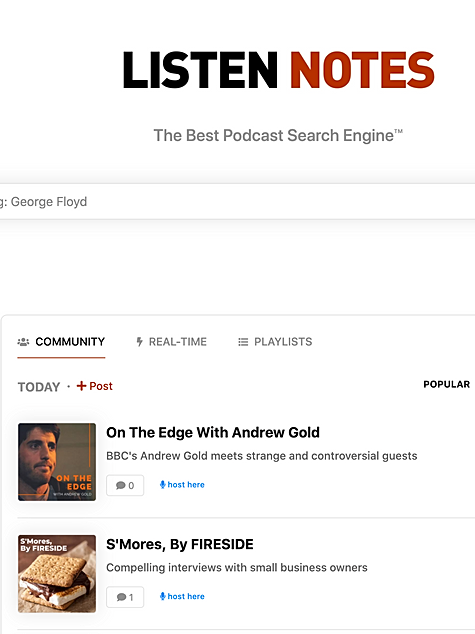 On the Edge with Andrew Gold was top of Listen Notes tredning page