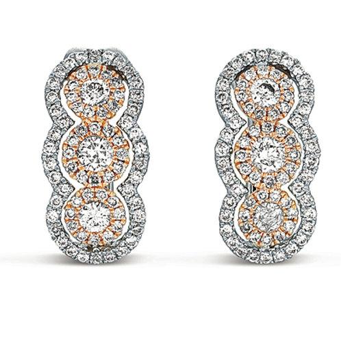 2 -Tone Rose & White Diamond Earrings